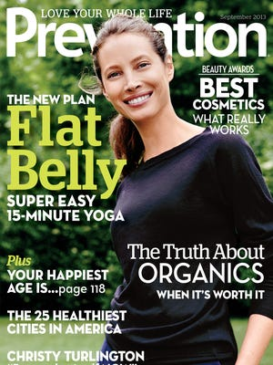 Christy Turlington is on the cover of the September 2013 issue of 'Prevention' magazine.