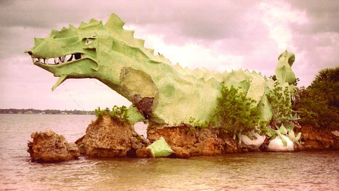 Annie the dragon shows signed of decay in this 1996 photo at the southernmost tip of Merritt Island.