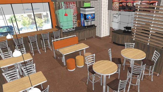This architectural rendering shows the new interior design for the rebranded Taco John's.