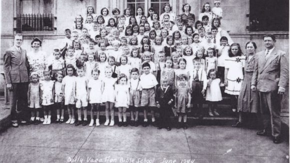 Reader Jean Fix shared this photo, taken by Shadle Studio, of a daily Bible school from June 1944 with 100 people pictured.