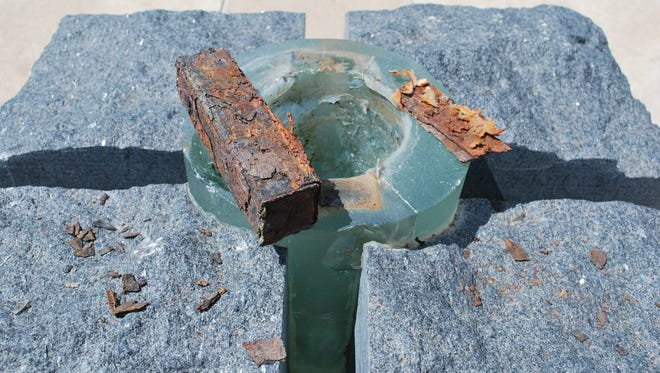 A piece of steel from the north Twin Tower was stolen from the Sept. 11, 2001, memorial near the Concho River in 2016. The memorial has been repaired and will be rededicated.