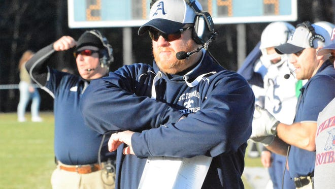 Athletic Director Ryan Brown is leaving St. Thomas Aquinas High School to take a similar position at Bishop Guertin High School in Nashua. Brown is pictured here in 2017 coaching the STA football team, which he did for two seasons.