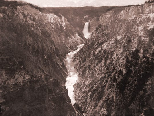 """Grand Canyon of the Yellowstone and Falls,"" about 1880, photographed by Frank Jay Haynes (1853–1921), mammoth albumen print. Collection of Michael Mattis and Judith Hochberg."