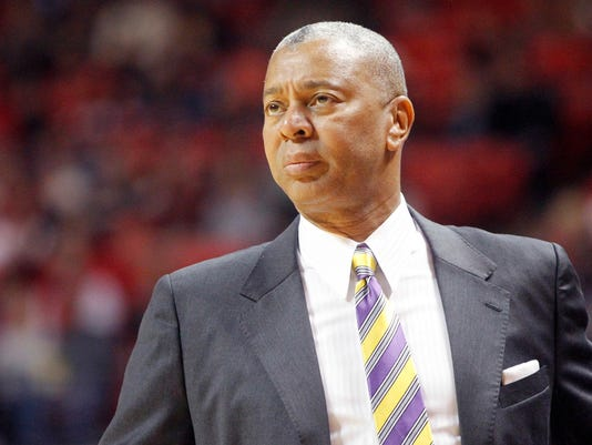 LSU head coach Johnny Jones watches the action during the first half of an NCAA college basketball game against Texas Tech, Saturday, Jan. 28, 2017, at United Supermarkets Arena in Lubbock, Texas. (Mark Rogers/Lubbock Avalanche-Journal via AP)
