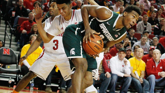 Michigan State Spartans forward Javon Bess (2) drives past Nebraska Cornhuskers guard Tai Webster (0) in the second half at Pinnacle Bank Arena.