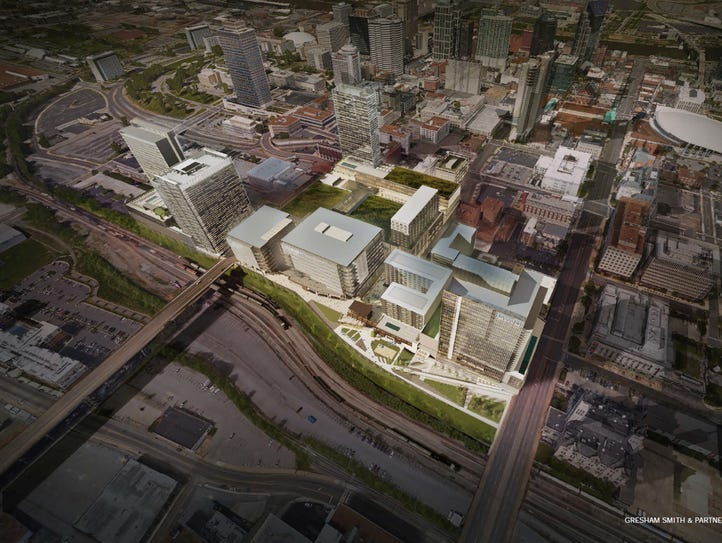 Rendering of Nashville Yards project planned for 15-acre