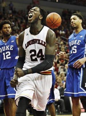 Montrezl Harrell howls after a made basket against Duke.