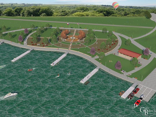 An artist rendering of the Veterans Memorial Plaza and boat ramp area of the Lake Wichita Revitalization Project.