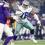 Dallas Cowboys defensive tackle Greg Hardy (76) chases Minnesota Vikings quarterback Teddy Bridgewater (5) in the first quarter of a preseason game.