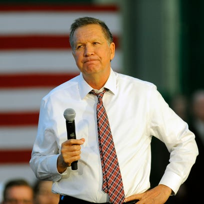 Republican presidential candidate Ohio Gov. John Kasich speaks at a town hall meeting in Portland, Ore., Thursday, April 28 , 2016.