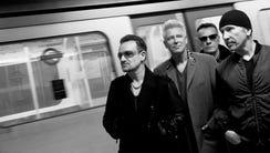 Bono, left, Adam Clayton, Larry Mullen Jr. and The