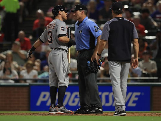 Tigers second baseman Ian Kinsler after being ejected