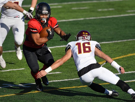 St. Cloud State running back Jaden Huff is brought
