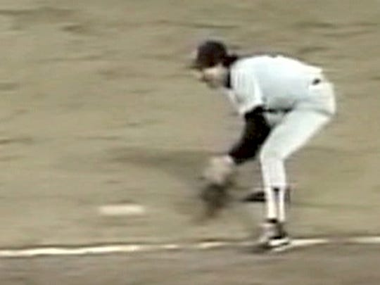 Red Sox first baseman Bill Buckner misses a ground