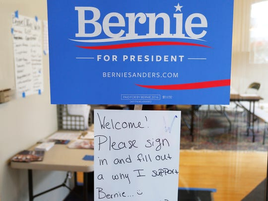 A welcome sign greets guests at the Bernie Sanders