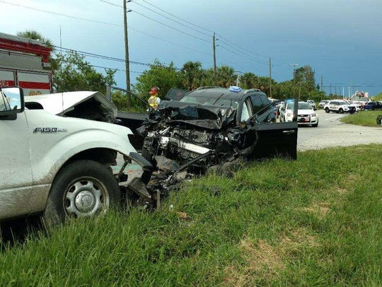 A three-car crash Thursday, June 7, 2018, in Palm City