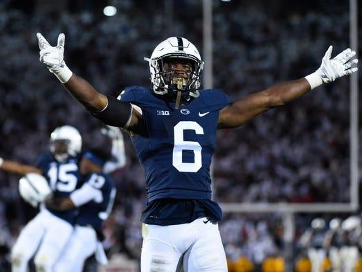 Penn State safety Malik Golden (6) celebrates during