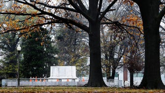 Only the pedestal remains of the removed statue of Nathan Bedford Forrest at Health Science Park Thursday morning. The city of Memphis sold two public parks containing Confederate monuments to a nonprofit Wednesday in a massive, months-in-the-planning operation to take the statues down overnight.