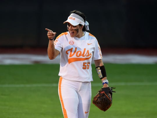 Tennessee's Meghan Gregg (55) yells to a teammate during a SEC tournament game between UT and LSU at Sherri Parker Lee Stadium to begin on Thursday, May 11,2017