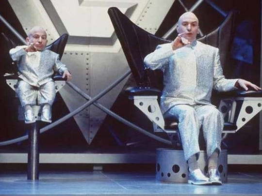 Dr. Evil and Mini Me's chairs built by Jim Hayes.