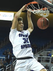 Spanish Springs' Jalen Townsell dunks one against Bishop