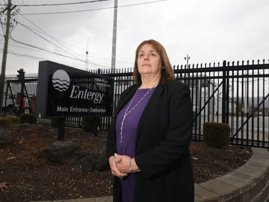 Theresa Knickerbocker, the mayor of the Village of Buchanan, stands is pictured outside the Indian Point Energy Center, Dec. 5, 2017.
