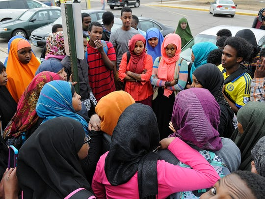 St. Cloud Tech students gather outside the school in