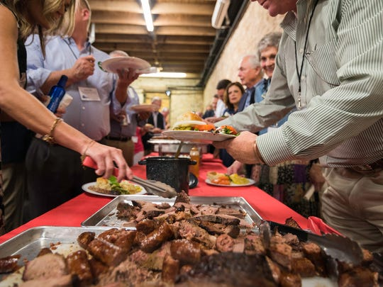Guests enjoyed brisket, sausages, lamb, homemade ice cream and more provided by Charlie Blanek catering at the West Texas Legislative Summit Reception July 31, 2017.