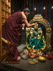 Sripathi Tantry, a priest at the Sri Venkata Krishna Kshetra, performs a religious ceremony at the temple in Tempe. Arizona is home to about 35 Hindu congregations.