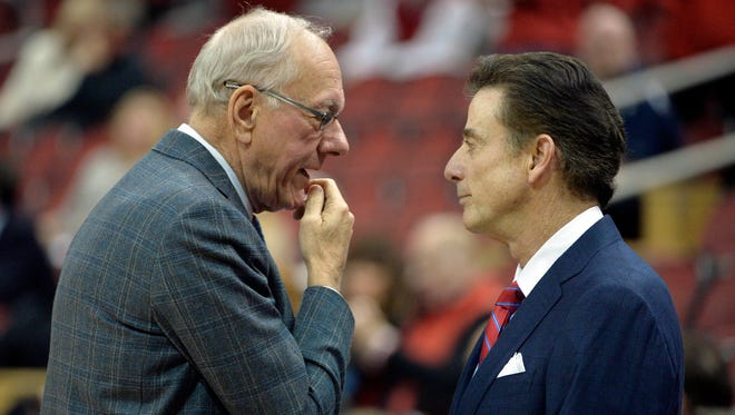 Feb 17, 2016; Louisville, KY, USA; Syracuse Orange head coach Jim Boeheim talks with Louisville Cardinals head coach Rick Pitino before the first half at KFC Yum! Center. Louisville defeated Syracuse 72-58.  Mandatory Credit: Jamie Rhodes-USA TODAY Sports