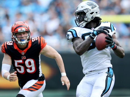 Carolina Panthers tight end Ian Thomas (80) completes