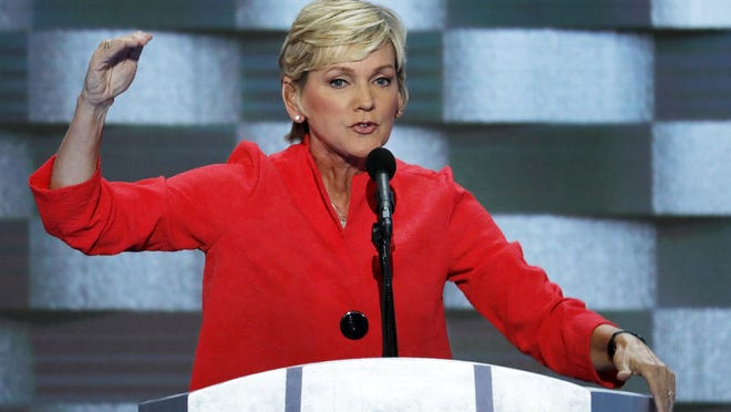 In this July 28, 2016, file photo, former Michigan Gov. Jennifer Granholm speaks during the final day of the Democratic National Convention in Philadelphia. Biden is expected to pick his former rival Pete Buttigieg as secretary of transportation and Granholm as energy secretary.