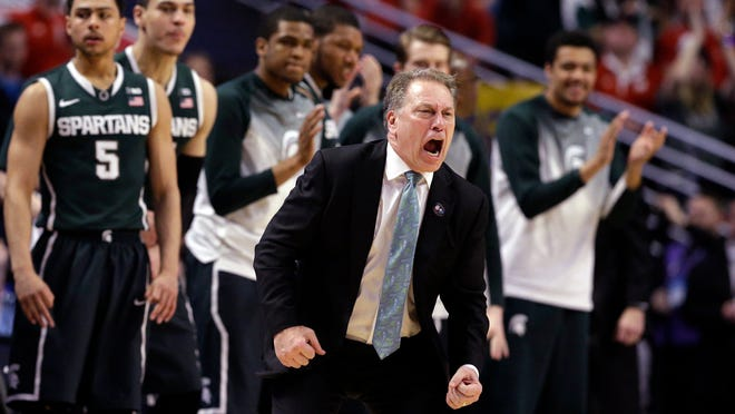 Michigan State head coach Tom Izzo in the second half of an NCAA college basketball game against Wisconsin in the championship of the Big Ten Conference tournament in Chicago, Sunday, March 15, 2015. Wisconsin defeated Michigan State 80-69 in overtime. (AP Photo/Nam Y. Huh)