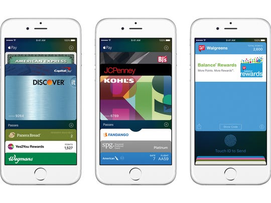 An image of iPhone 6 smartphones with various Apple Pay features shown.
