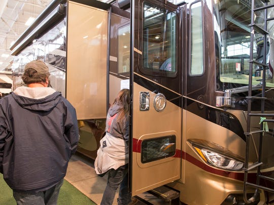 A 2018 Tiffin Phaeton 36 GH at the Indy RV Expo, State Fairgrounds, Indianapolis, Sunday, Jan. 7, 2018.