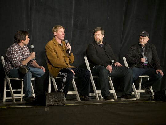 Mike Greenhaus of Relix magazine, from left, with producers Eric Eisner, Nick Koskoff and Justin Kreutzmann speak at the 2016 Asbury Park Music and Film Festival.