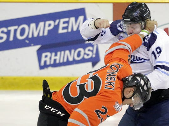 El Paso's Jake Kopinski wins a fight against Dallas Sniper Zachery Houck during their playoff game in El Paso.
