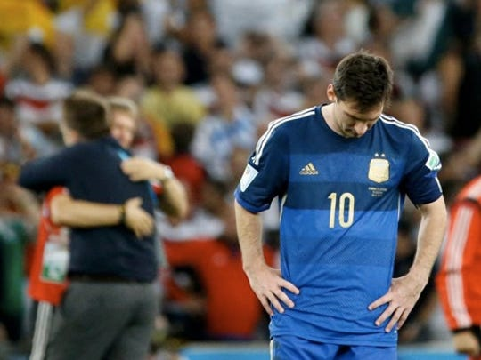 Argentina's Lionel Messi after Germany wins the World Cup 1-0 in extra time on Sunday, July 13. 2014.