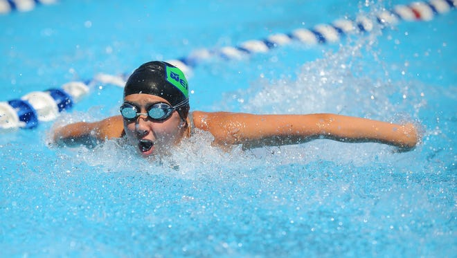 Wexford Leas' Grace Yoon swims in the girls 13-14 100 meter individual medley during Sunday's Tri-County Swimming Championships at Tenby Chase Swim Club in Delran. 8.7.16. Joe Warner/For the Courier-Post
