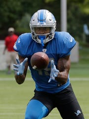 Lions rookie receiver Kenny Golladay makes a catch during training camp Monday, Aug. 7, 2017 in Allen Park.