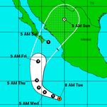 A graphic from the National Weather Service shows the position and forecast track of Tropical Storm Sandra
