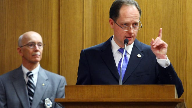 Sen. Jack Johnson presents his bill to the Senate Education Committee who voted 6-3 to approve the bill that would end mandatory collective bargaining between the Tennessee Education Association and local school boards. Most of the people in the room were teachers and TEA members who prefer keeping collective bargaining in place. Larry McCormack/Tennessean