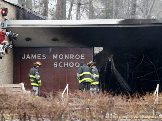 Aftermath of a March 22, 2014 six alarm fire at the James Monroe Elementary School in Edison.