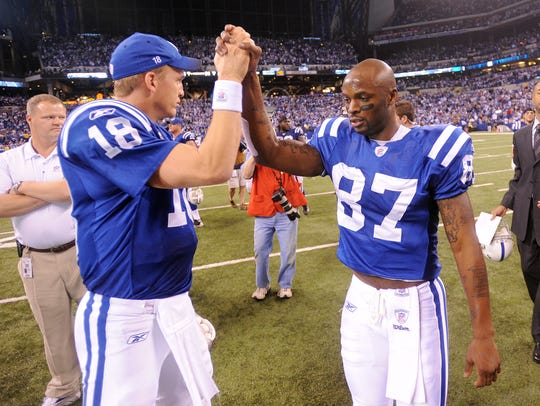 Peyton Manning and Reggie Wayne celebrate their winning