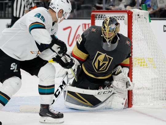 Vegas Golden Knights goalie Marc-Andre Fleury blocks