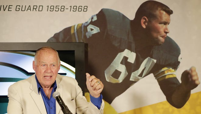 Jerry Kramer speaks July 25 at the opening of an exhibit featuring his Packers career at the Green Bay Packers Hall of Fame at Lambeau Field in Green Bay.