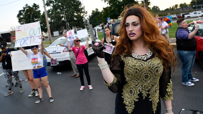 Christabella is part of a crowd gathered for a rally Monday, Sept. 18, 2017 in support of Elite Drag Star Productions, a company that holds drag shows in the city of Portland. Monday's  rally was held before the Portland City Council voted for the second time on the ordinance.