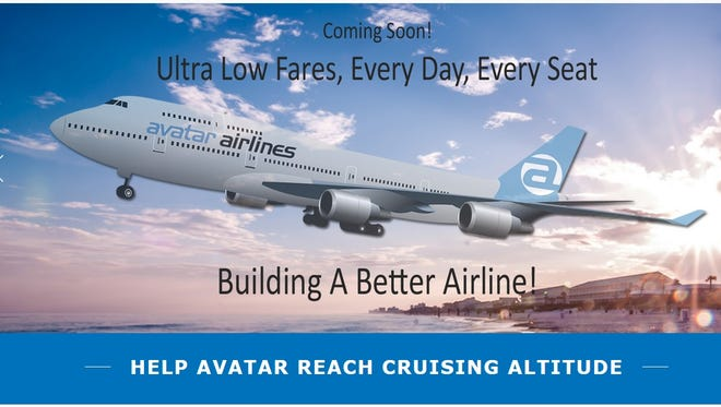 A screenshot of the crowdfunding page for would-be start-up Avatar Airlines.