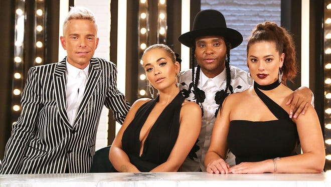 """Drew Elliott, left, is part of the """"America's Next Top Model"""" cast with Rita Ora, Law Roach and Ashley Graham."""