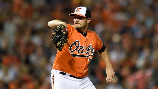 Baltimore Orioles pitcher Wade Miley throws against the Arizona Diamondbacks during the first inning of a baseball game, Saturday, Sept.24, 2016, in Baltimore.